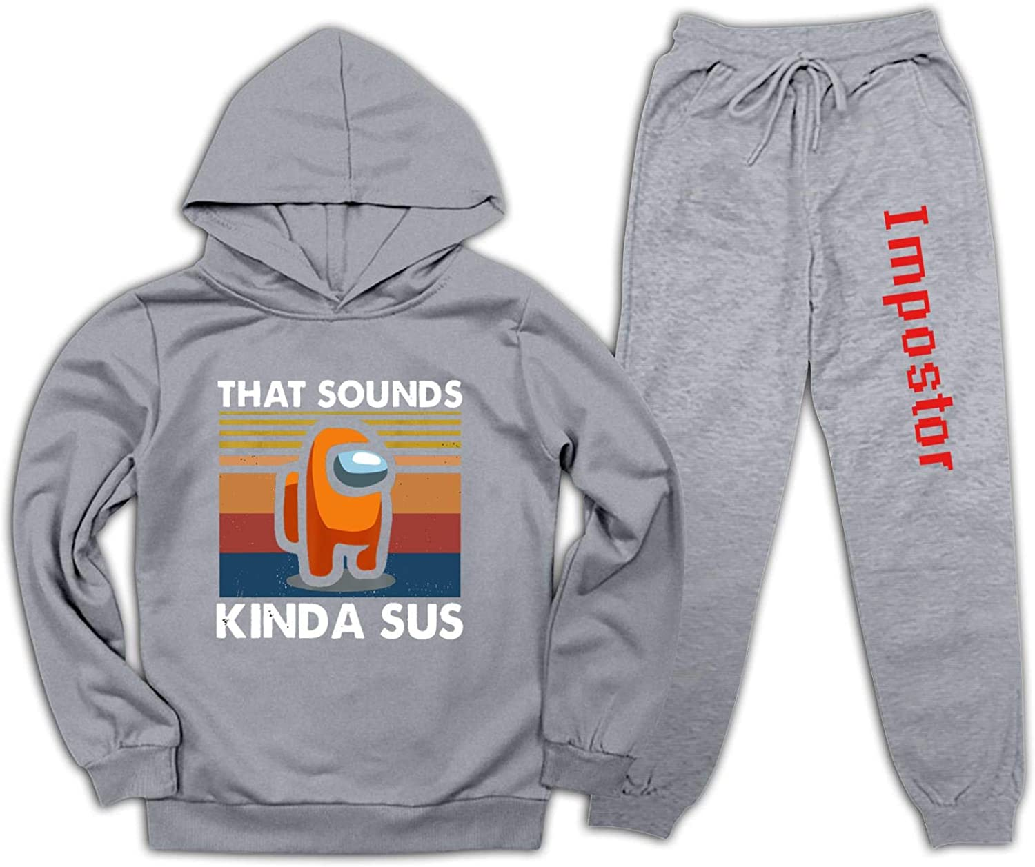 NJLLOS Kids Among Us Kinda Sus Pullover Hoodie and Sweatpants Set for Boys Girls 2 Piece Sweatshirt Set