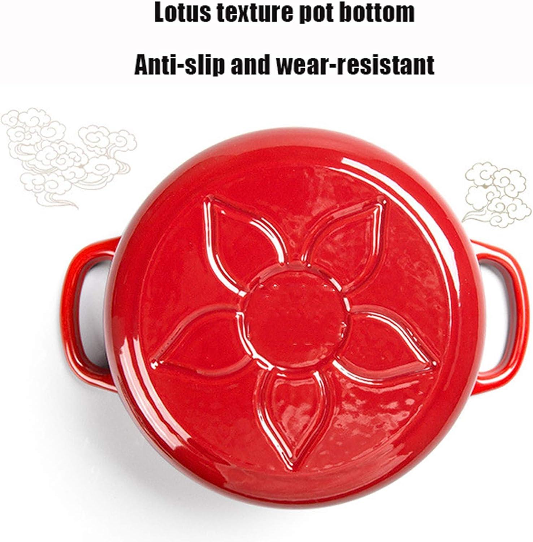 Casserole en Fonte émaillée Casserole antiadhésive en émail Four hollandais pour la Cuisson Le braisage Le rôtissage - Meilleur Cadeau (16 cm) Rouge Red