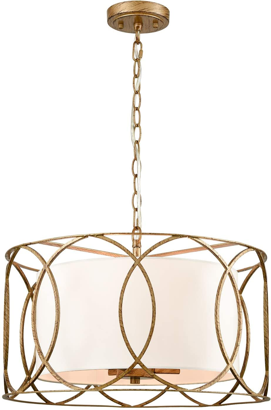 Brass Drum Pendant Be super welcome Light 3-Light Table White Online limited product Dining with Fixture