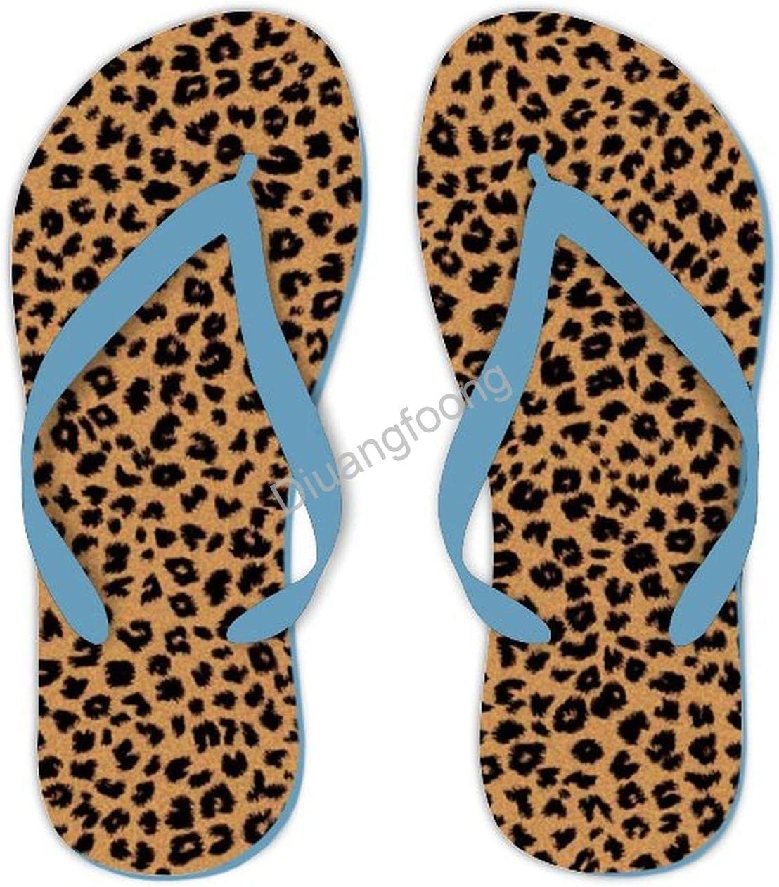 Leopard Flip Flop Comfort Unique Thong Sandals Pretty Sandal For Party Bathroom Travel Blue Style1