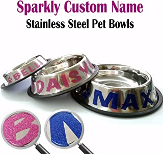 Jeyfel Decals: Personalized Stainless Steel Pet Bowl. Sparkly Glitter Custom Name. Choose Your Size, Choose Your Color. for Cats, Dogs, Puppies, or Other Pets. (1 Cup-8oz)