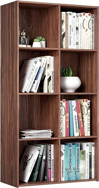 Homfa 8 Cube Bookcase Modular Storage Organizer Cabinet Wood Bookshelf 4 Tier Modern Home Office Furniture Walnut