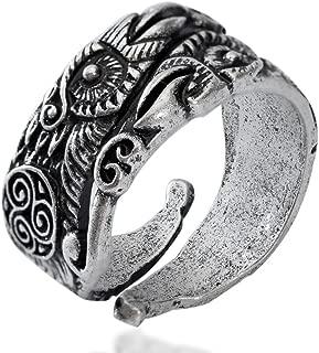 QIANJI Odin's Ravens Ring Huginn and Muninn Ring Women Men Viking Pagan Jewelry
