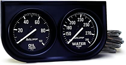 AUTO METER 2392 Autogage Black Oil/Water Gauge with Steel Console