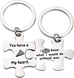 ENSIANTH Puzzle Piece Keychains Pizza Donut Gift You Have a Pizza My Heart I Donut Know What I Would do Without You Keychain, Food Lover Gift