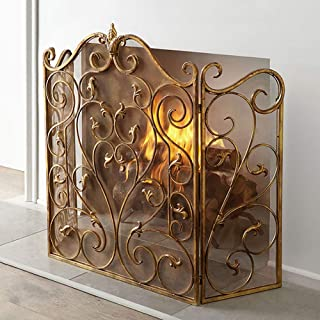 Fireplace Screens MYL Heavy-Duty Arch with Scroll Design, 3-Panel Gold Wrought Iron Folding Fire Spark Guard for Indoor/Outdoor, Tall 36inch
