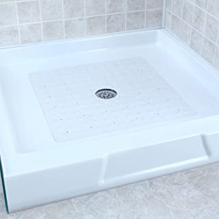 SlipX Solutions White Square Rubber Safety Shower Mat with Microban Provides Reliable Slip-Resistance in Shower Stalls (Mildew Resistant, 140 Suction Cups, Great Drainage)