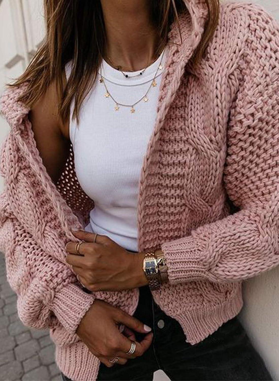 LOSRLY Damen Mode Winter Warm Mantel Cardigan Pullover mit Kapuze Offene Vorderseite Langarm Grobstrick Lose Oberbekleidung Rose