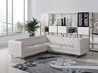 Limari Home Elisa Collection Modern Living Room Leatherette Sectional Sofa, White