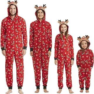 Pijamas de Navidad Familia Mono Navideños Mujer Hombre Niños Bebé Reno Jumpsuit Overall Ropa de Dormir con Capucha Una Pieza Trajes para Navidad