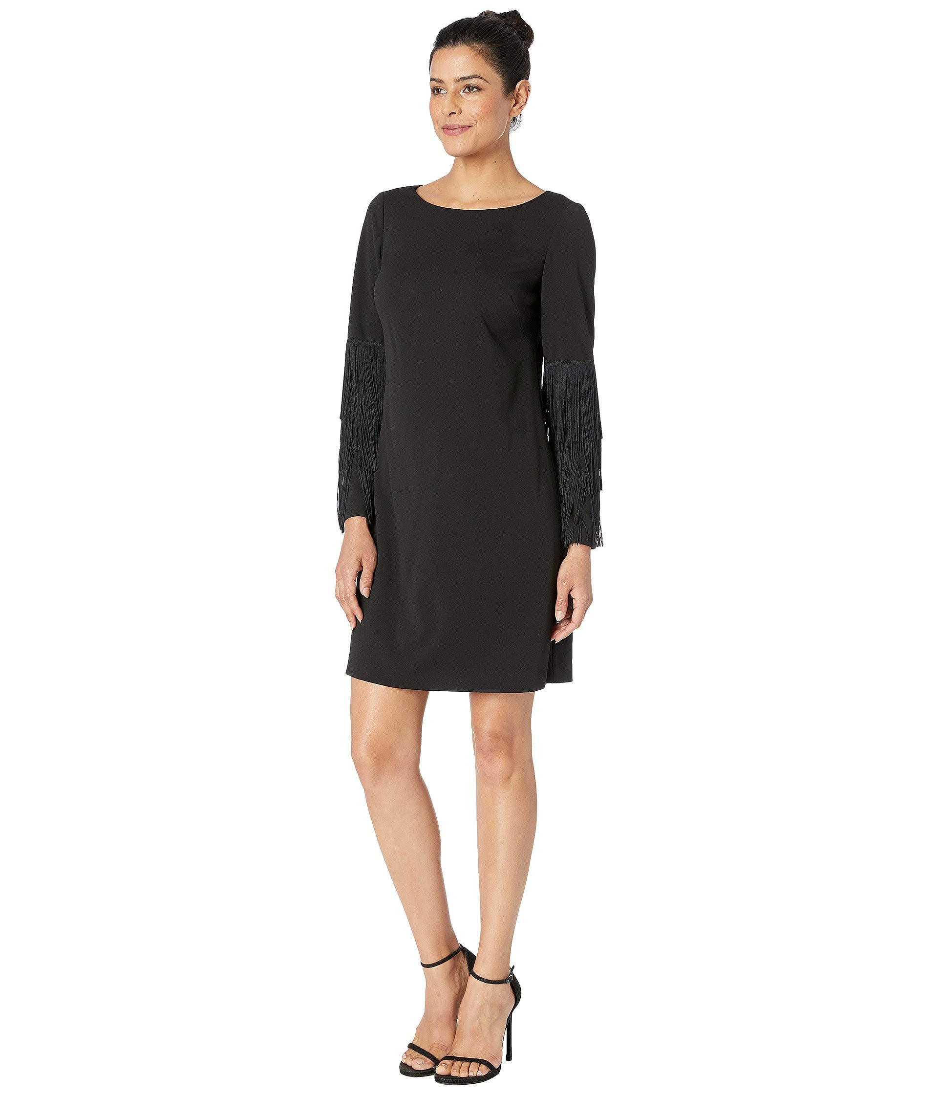 W Dress Shift Bateau Papell Adrianna Neckline Black Crepe Knit qwHXFcAf