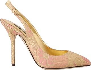 Dolce & Gabbana Gold Pink Brocade Slingbacks Heels