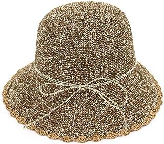 Songlin @ yuan Foldable Crochet Straw Bucket Hat Women Hat Sun Hat Wide Side Sunscreen Summer Hat Size: 56-58cm (Color : Coffee, Size : 56-58CM)