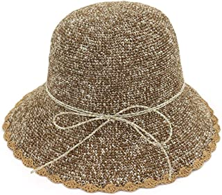 Summer hat Foldaway Crochet Straw Bucket Hat Women Hat Sun Hat Broad Side Sunscreen Summer Hat hat (Color : Coffee, Size : 56-58CM)