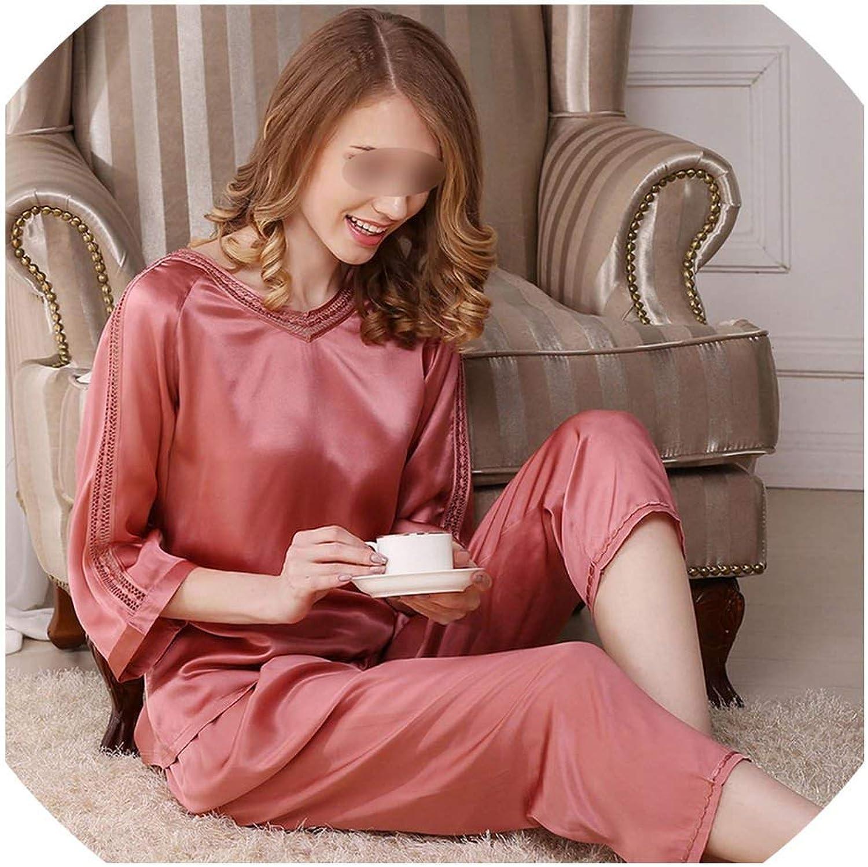 Womens 2 Piece Pajama Set Pure color Ladies Pyjamas Sets Silk Cloth Sleepwear