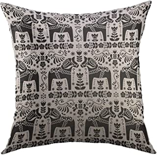 Mugod Decorative Throw Pillow Cover for Couch Sofa,Black Flowers Scandinavian Folk Pattern Swedish Dala or Daleclarian Horse Floral Design Sweden Animal Home Decor Pillow case 18x18 Inch