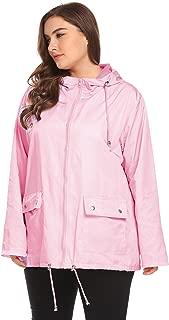 Zeagoo Women Plus Size Lightweight Windbreaker Full-Zip with Hooded Waterproof Anorak Coat