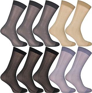 Uaussi, 10 pares de calcetines de vestir ultra delgados para hombre de seda de negocios calcetines de trabajo de nylon suave pantalones de trabajo Sox mediados de la pantorrilla