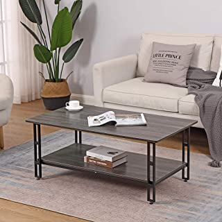 Cocktail Coffee Table Vintage Grey with Storage Shelf - Bizzoelife 42 Inches Industrial Tea Table Rustic for Living Room