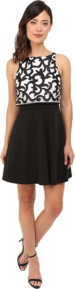 Popover Top Cocktail Dress with Embroidered Scroll Detail