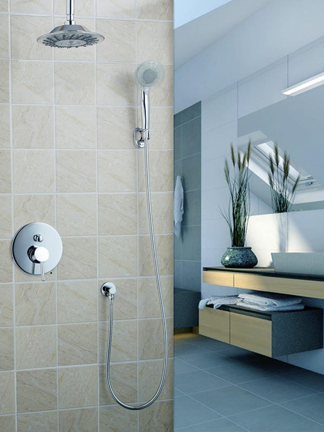 Ceiling Wall 8  Shower Head Bathroom Rainfall 50243-22A Bath Tub Chrome Brass Sink Faucets,Mixers & Tap Shower Set Torneira,White
