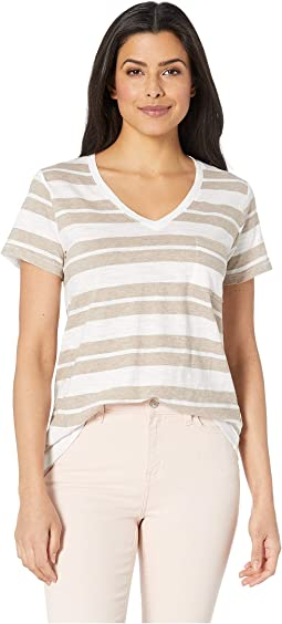 Taupe Heather/White Stripe
