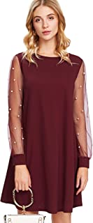 Women's Tunic Dress with Embroidered Floral Mesh Bishop Sleeve