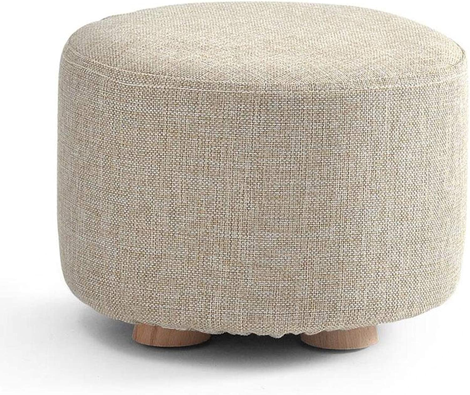 XUERUI Furniture Stools Chair Footstool Upholstered Modern Luxury Round Pouffe Stool Wooden Leg Pattern Round Fabric Strong Stability (color   T3)