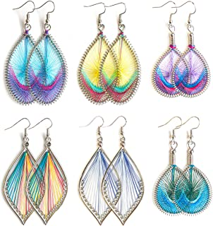 6 Pairs Colorful Silk Earrings Woven Thread Earrings Set Bohemia Hoop Dangle Drop Earrings for Women Girls Fashion Jewelry