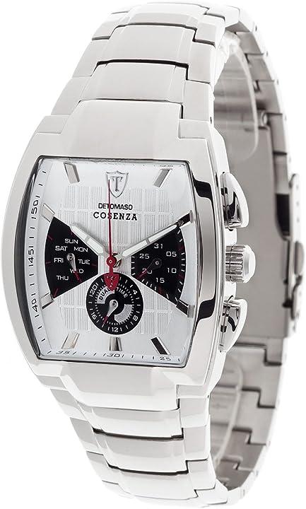 Detomaso dt1035-d orologio da polso, quadrante analogico da uomo, cinturino in acciaio inox, colore argento