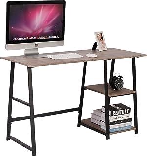 comprar comparacion WOLTU Escritorio Mesa de Trabajo Mesa de Oficina Mesa de Ordenador portátil con 2 estantes, de Madera y Acero 120x50x73cm ...