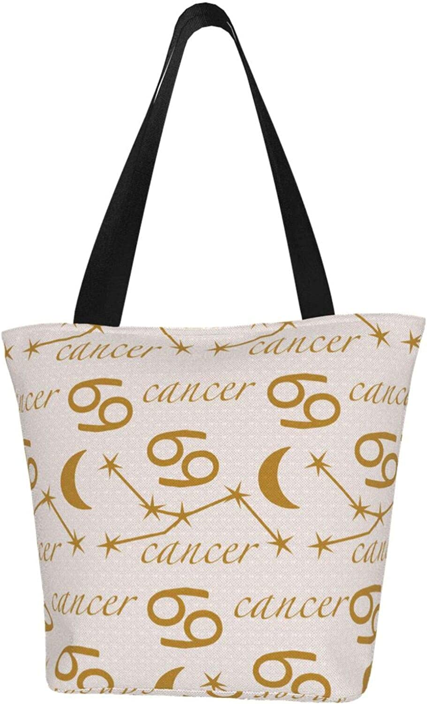 Cancer Zodiac Constellation Charm Stars Themed Printed Women Canvas Handbag Zipper Shoulder Bag Work Booksbag Tote Purse Leisure Hobo Bag For Shopping