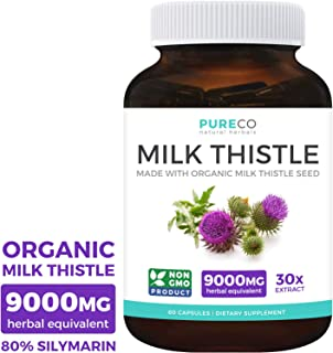 Organic Milk Thistle Extract (80% Silymarin) Super-Concentrated for 9,000mg of Milk Thistle Seed Power: Supports Liver Cleanse, Detox & Health - Vegan - 60 Capsules (Pills)