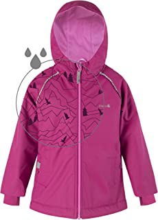 Therm Girls Rain Jacket, Lightweight Raincoat for Kids Toddler with Magic Pattern, Fleece Lining