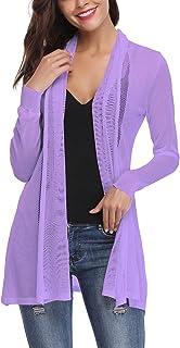 c064399ea9191 Veste Longue Femme Gilet Femme Leger Crochet Cardigan Long Femme Lin Manches  Longues été Outwear Femme