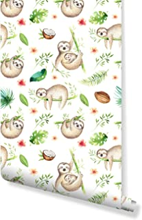 Temporary Baby Animals Sloth Removable Wallpaper, self Adhesive Wall Decor for Kids with Watercolor Tropical Design Cute Palm Tree Leaves Self Adhesive Vinyl CC163 (6