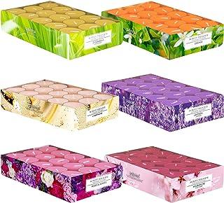 Pajoma Lot de 180 bougies chauffe-plat parfumées au printemps et en été dans un étui en polycarbonate, 6 x 30 bougies chau...