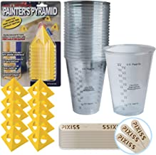 10x Painter's Pyramid Stands (KM1257), 20x 10-Ounce Disposable Graduated Clear Plastic Cups for Mixing Paint, Stain, Epoxy, Resin, 20x 6-inch Pixiss Wood Mixing Sticks