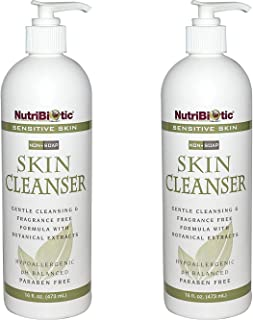 NutriBiotic Sensitive Skin Non-Soap Skin Cleanser (Pack of 2) with Aloe Vera Leaf Powder, Grapefruit Seed Extract, Rosemar...