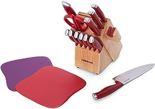 Farberware 5217309 Edgekeeper Delrin Cutlery Set, 15-Piece, Red
