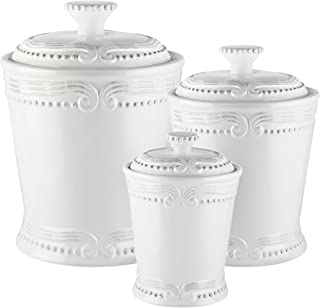 American Atelier Victoria Canister Set 3-Piece Ceramic Jars in 20oz, 50oz & 86oz in Elegant Design w/Airtight Lids for Cookies, Candy, Coffee, Flour, Sugar, Rice, Pasta, Cereal & More, 20, 50, White