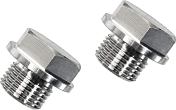 PitVisit O2 Sensor Bung Plugs Stainless Steel M18 x 1.5 Oxygen Wideband Sensor Bung Plug with 22mm Hex Head fits Bosch Type Lambda Sensor Universal Fit - Pack of 2