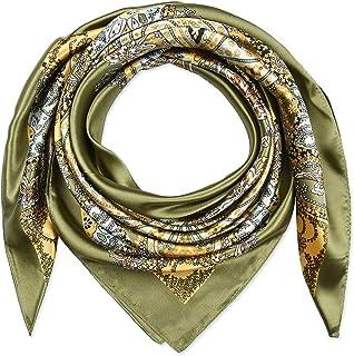 أوشحة كبيرة مربعة من الحرير الحريري خفيف الوزن لنوم النساء بنمط توتيم الزيتوني