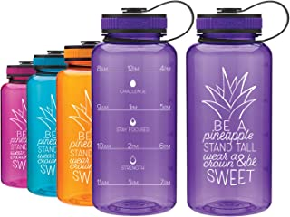LivinLotus Pineapple - Wide Mouth 34oz Water Bottle - Inspirational Water Tracker for Hydration Tracking with Time Tracked by The Hour for Three Refills and Motivational Quotes