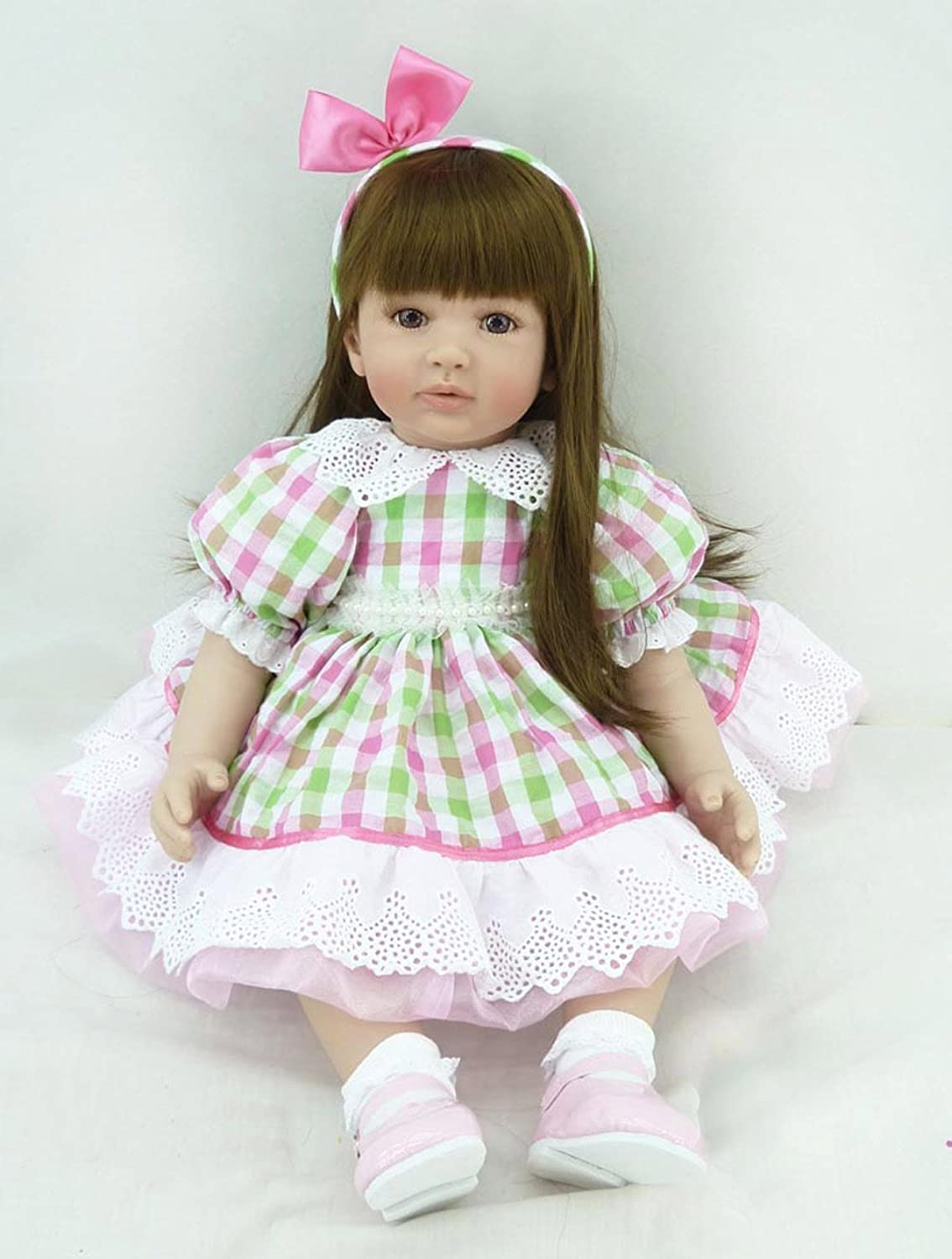 Pursue Baby Soft Body Lifelike Baby Princess Doll Elena, 24 Inch 3 4 Vinyl Realistic Weighted Toddler Doll with Long Hair