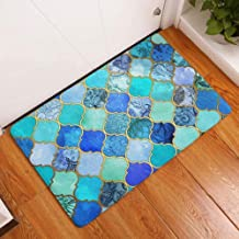 ESUPPORT Brilliant Geometric Printing Doormat Welcome Entrance Floor Mat Rug Non Slip, Blue