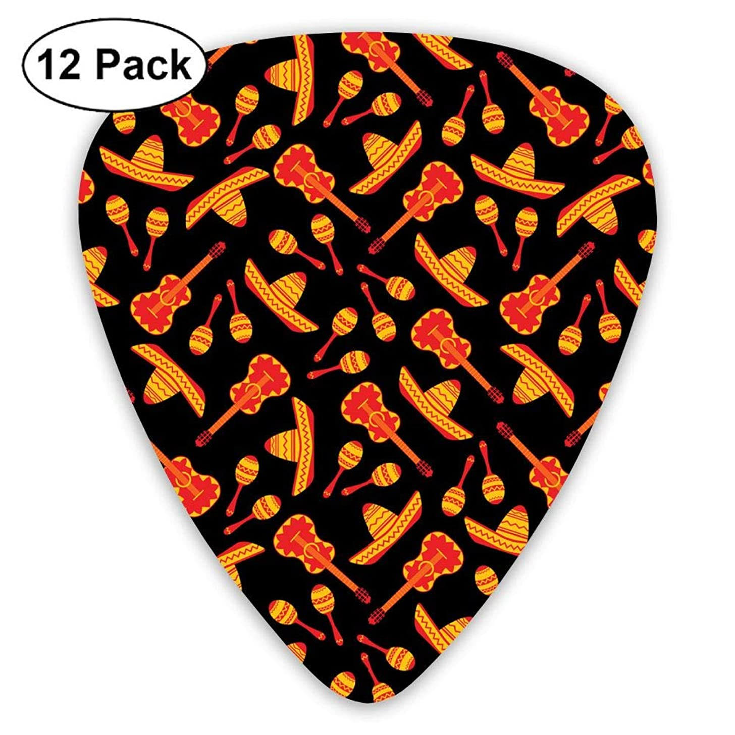 WOODRAIN Sombrero Guitar Maracas Pattern Guitar Picks 351 Shape Classic Picks 12-Pack Celluloid Paddles Plectrums 0.46mm/ 0.71mm/ 0.96mm
