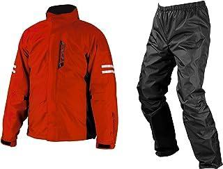 コミネ KOMINE バイク レインスーツ ブレスター レインウェア フィアート 上下セット レインパンツ 雨具 防水 カッパ レッド 5XLB 03-539 RK-539