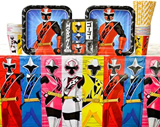 Power Rangers Ninja Steel Birthday Party Supplies Pack for 8 Guests | Straws, Lunch Plates, Luncheon Napkins, Cups, and Table Cover | Perfect Addition To Power Rangers Birthday Party Decorations