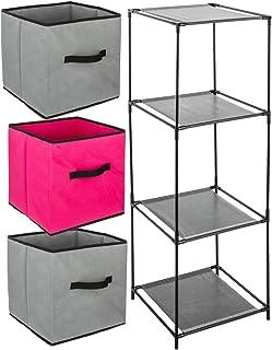 ID SPACE Ensemble de 4 pièces : 1 Meuble de Rangement étagère casier + 3 Boîtes de Rangement tiroirs - Coloris Framboise e...